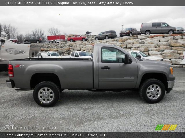 steel gray metallic 2013 gmc sierra 2500hd sle regular cab 4x4 ebony interior. Black Bedroom Furniture Sets. Home Design Ideas