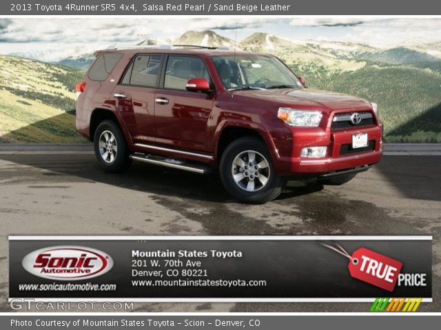 salsa red pearl 2013 toyota 4runner sr5 4x4 sand beige leather interior. Black Bedroom Furniture Sets. Home Design Ideas