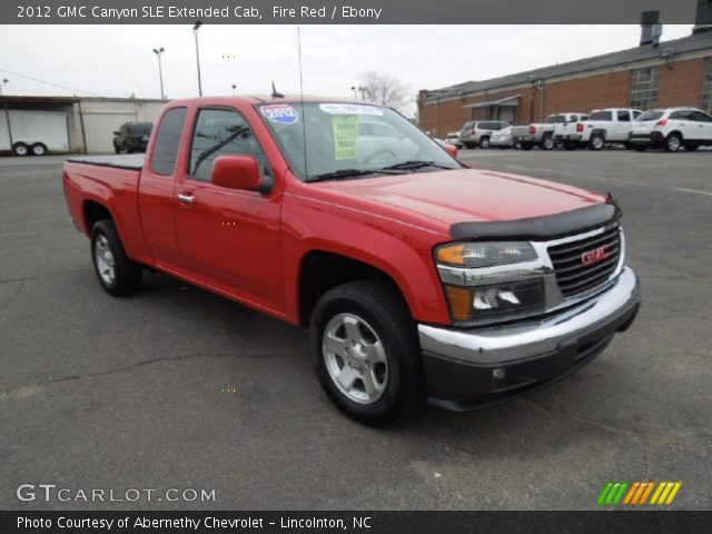fire red 2012 gmc canyon sle extended cab ebony interior vehicle archive. Black Bedroom Furniture Sets. Home Design Ideas