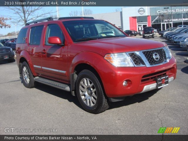 red brick 2010 nissan pathfinder le 4x4 graphite. Black Bedroom Furniture Sets. Home Design Ideas