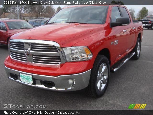 flame red 2013 ram 1500 big horn crew cab 4x4 black diesel gray interior. Black Bedroom Furniture Sets. Home Design Ideas