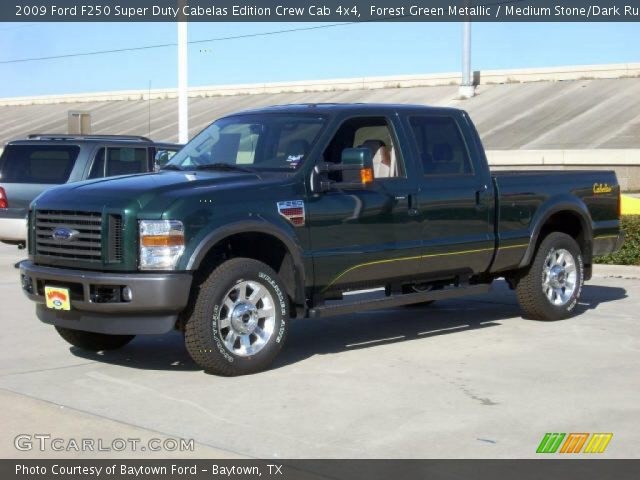 forest green metallic 2009 ford f250 super duty cabelas edition crew cab 4x4 medium stone. Black Bedroom Furniture Sets. Home Design Ideas
