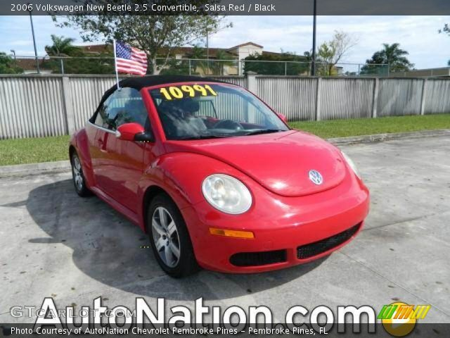 salsa red 2006 volkswagen new beetle 2 5 convertible black interior vehicle. Black Bedroom Furniture Sets. Home Design Ideas