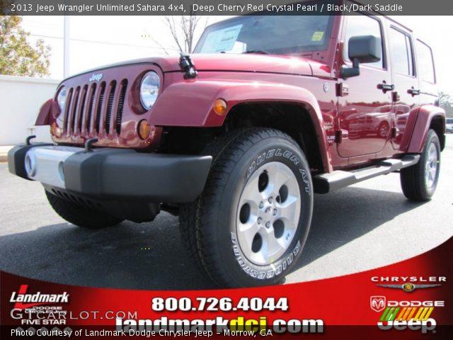 Deep Cherry Red Crystal Pearl 2013 Jeep Wrangler Unlimited Sahara 4x4 Black Dark Saddle