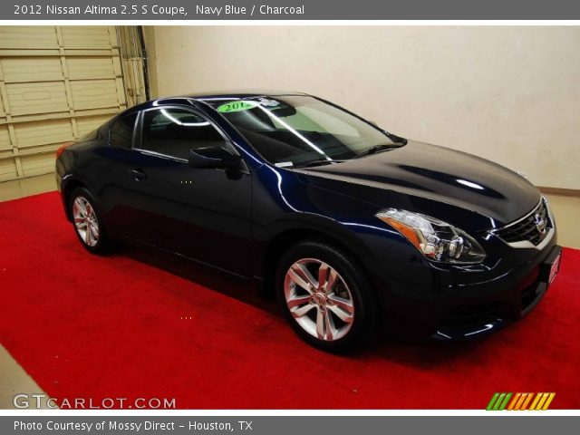 navy blue 2012 nissan altima 2 5 s coupe charcoal interior vehicle archive. Black Bedroom Furniture Sets. Home Design Ideas
