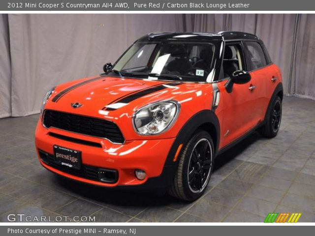 pure red 2012 mini cooper s countryman all4 awd carbon black lounge leather interior. Black Bedroom Furniture Sets. Home Design Ideas