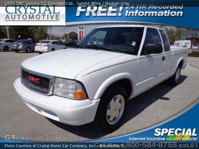 summit white 2003 gmc sonoma sls extended cab medium gray interior vehicle. Black Bedroom Furniture Sets. Home Design Ideas