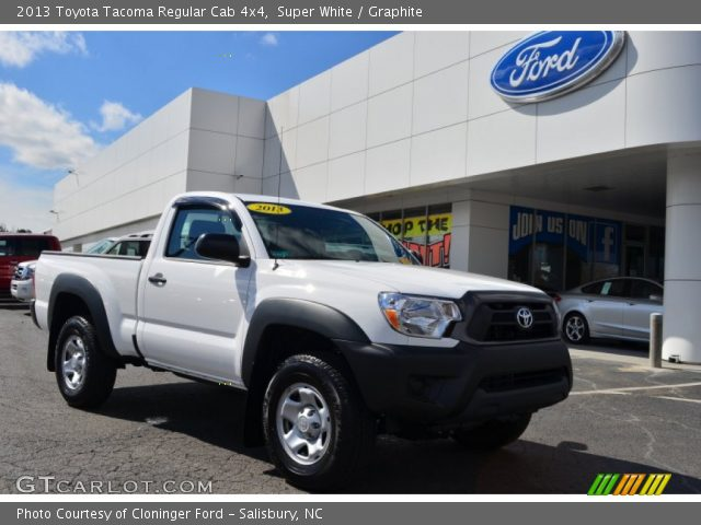 super white 2013 toyota tacoma regular cab 4x4 graphite interior vehicle. Black Bedroom Furniture Sets. Home Design Ideas