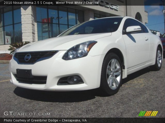 winter frost white 2010 nissan altima 2 5 s coupe charcoal interior vehicle. Black Bedroom Furniture Sets. Home Design Ideas