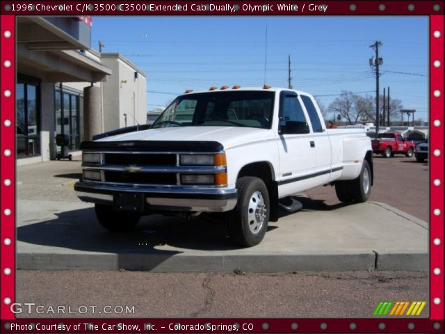 olympic white 1996 chevrolet c k 3500 c3500 extended cab dually grey interior. Black Bedroom Furniture Sets. Home Design Ideas