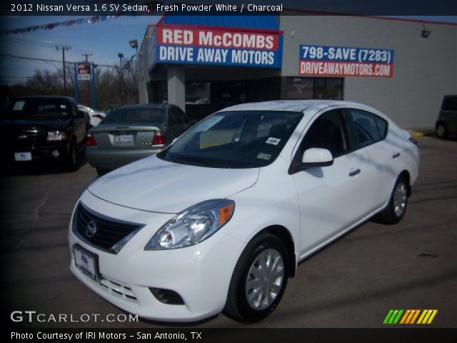 fresh powder white 2012 nissan versa 1 6 sv sedan charcoal interior vehicle. Black Bedroom Furniture Sets. Home Design Ideas