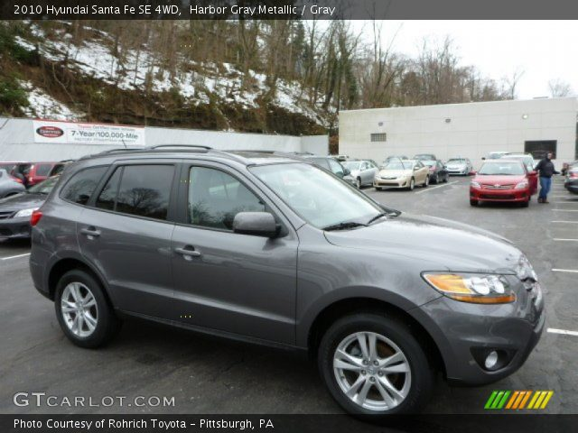 harbor gray metallic 2010 hyundai santa fe se 4wd gray interior vehicle. Black Bedroom Furniture Sets. Home Design Ideas