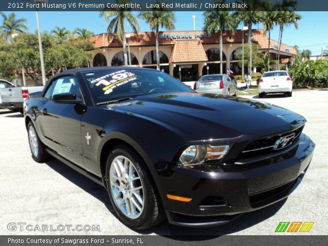 lava red metallic 2012 ford mustang v6 premium convertible charcoal black interior. Black Bedroom Furniture Sets. Home Design Ideas