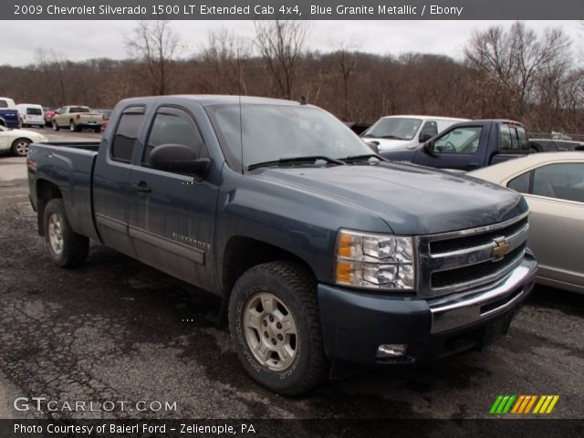 blue granite metallic 2009 chevrolet silverado 1500 lt extended cab 4x4 ebony interior. Black Bedroom Furniture Sets. Home Design Ideas