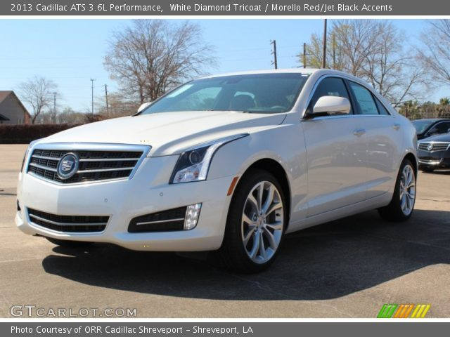 white diamond tricoat 2013 cadillac ats 3 6l performance morello red jet black accents. Black Bedroom Furniture Sets. Home Design Ideas
