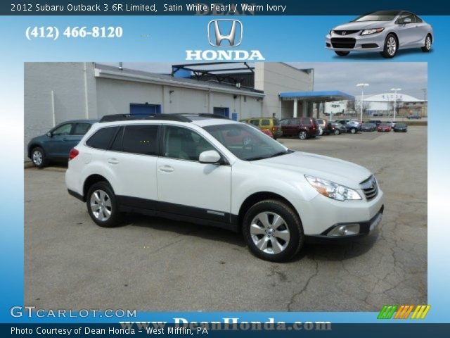 satin white pearl 2012 subaru outback 3 6r limited warm ivory interior. Black Bedroom Furniture Sets. Home Design Ideas