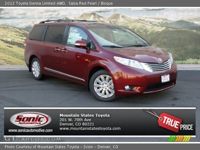 salsa red pearl 2013 toyota sienna limited awd bisque. Black Bedroom Furniture Sets. Home Design Ideas