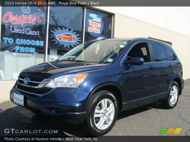 royal blue pearl 2010 honda cr v ex l awd black interior vehicle archive. Black Bedroom Furniture Sets. Home Design Ideas