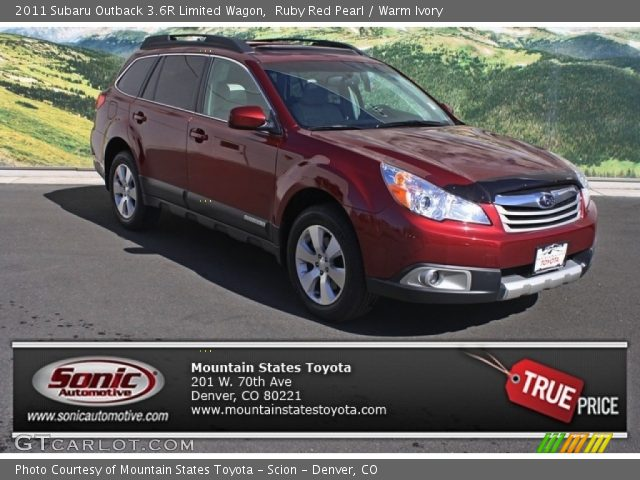 ruby red pearl 2011 subaru outback 3 6r limited wagon warm ivory interior. Black Bedroom Furniture Sets. Home Design Ideas