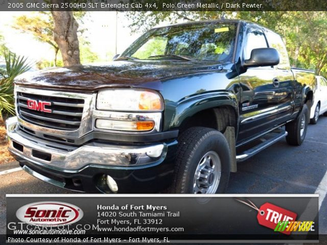 polo green metallic 2005 gmc sierra 2500hd slt extended cab 4x4 dark pewter interior. Black Bedroom Furniture Sets. Home Design Ideas