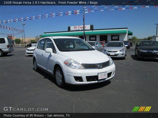 fresh powder white 2008 nissan versa 1 8 s hatchback beige interior vehicle. Black Bedroom Furniture Sets. Home Design Ideas