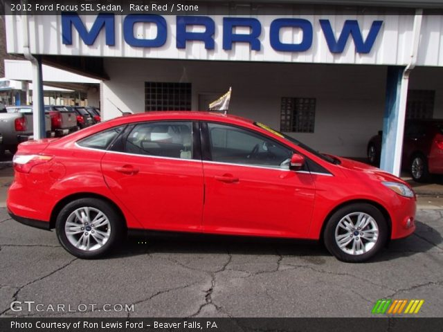 race red 2012 ford focus sel sedan stone interior vehicle archive 78939680. Black Bedroom Furniture Sets. Home Design Ideas