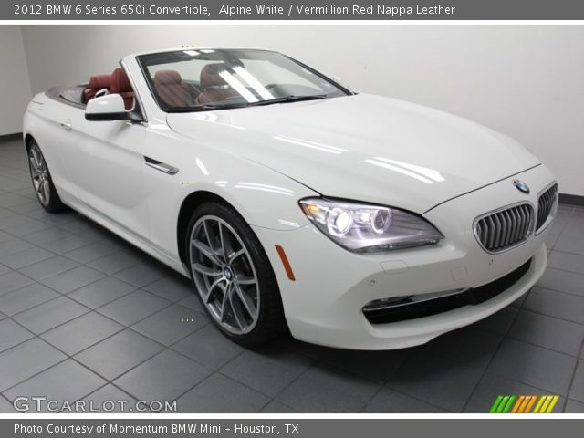 Alpine White 2012 Bmw 6 Series 650i Convertible Vermillion Red Nappa Leather Interior