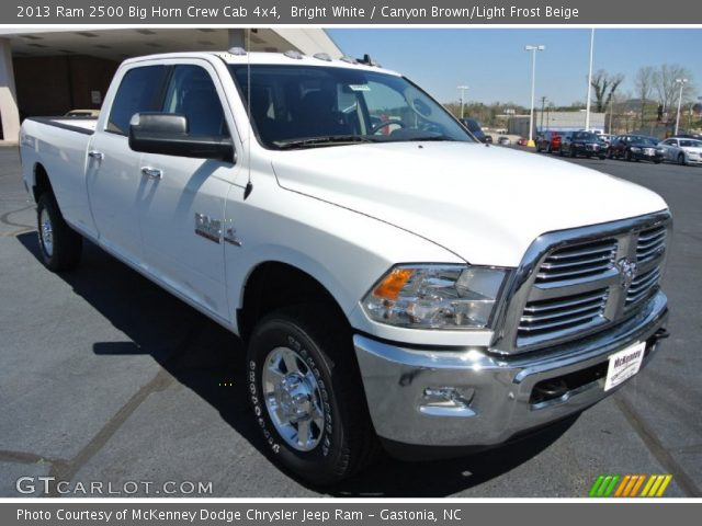bright white 2013 ram 2500 big horn crew cab 4x4 canyon brown light frost beige interior. Black Bedroom Furniture Sets. Home Design Ideas