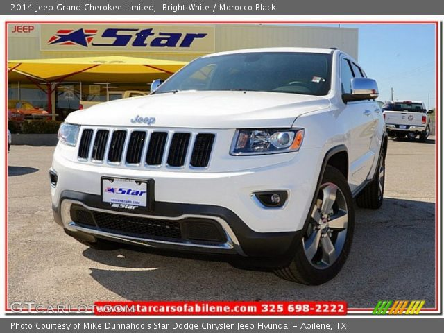 bright white 2014 jeep grand cherokee limited morocco black interior. Black Bedroom Furniture Sets. Home Design Ideas