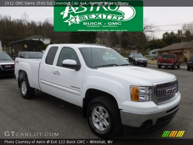 summit white 2012 gmc sierra 1500 sle extended cab 4x4 ebony interior. Black Bedroom Furniture Sets. Home Design Ideas