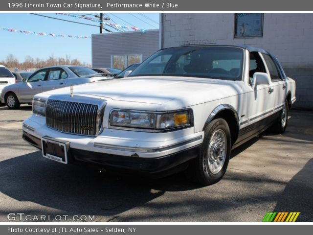 performance white 1996 lincoln town car signature blue interior vehicle. Black Bedroom Furniture Sets. Home Design Ideas