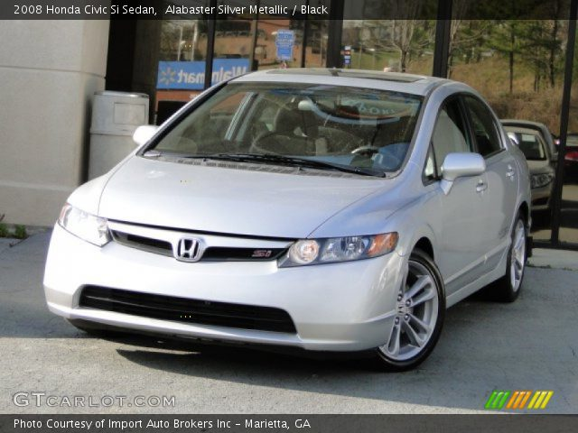 alabaster silver metallic 2008 honda civic si sedan black interior vehicle. Black Bedroom Furniture Sets. Home Design Ideas