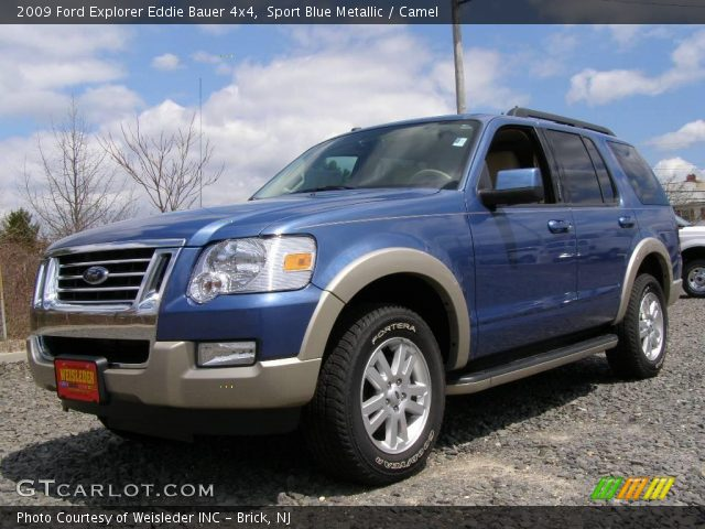 sport blue metallic 2009 ford explorer eddie bauer 4x4 camel interior. Black Bedroom Furniture Sets. Home Design Ideas