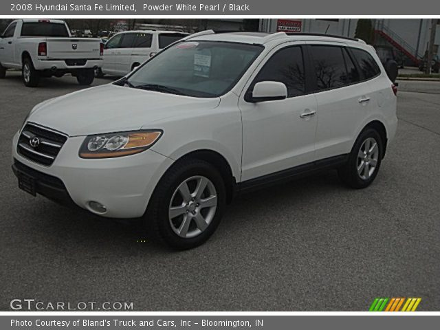 powder white pearl 2008 hyundai santa fe limited black interior vehicle. Black Bedroom Furniture Sets. Home Design Ideas