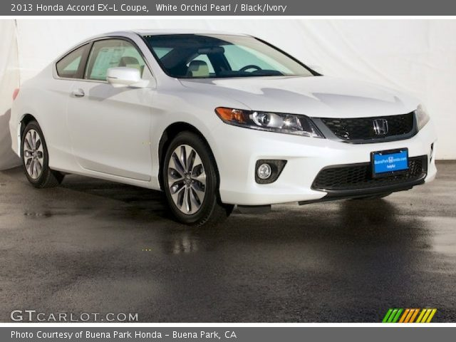 white orchid pearl 2013 honda accord ex l coupe black ivory interior. Black Bedroom Furniture Sets. Home Design Ideas