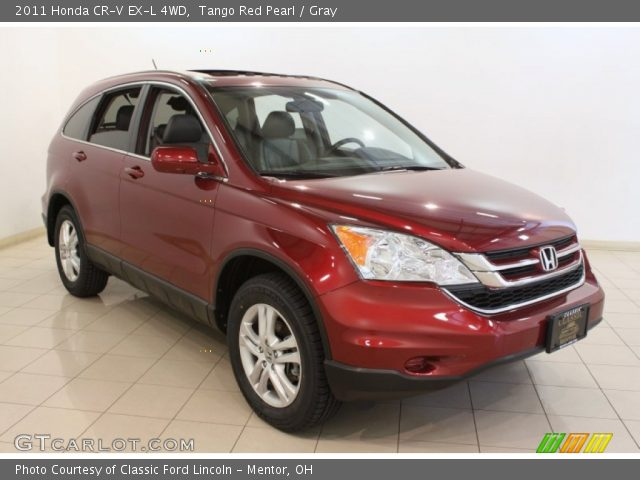 tango red pearl 2011 honda cr v ex l 4wd gray interior vehicle archive. Black Bedroom Furniture Sets. Home Design Ideas