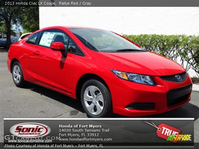 rallye red 2013 honda civic lx coupe gray interior vehicle archive 79949315. Black Bedroom Furniture Sets. Home Design Ideas