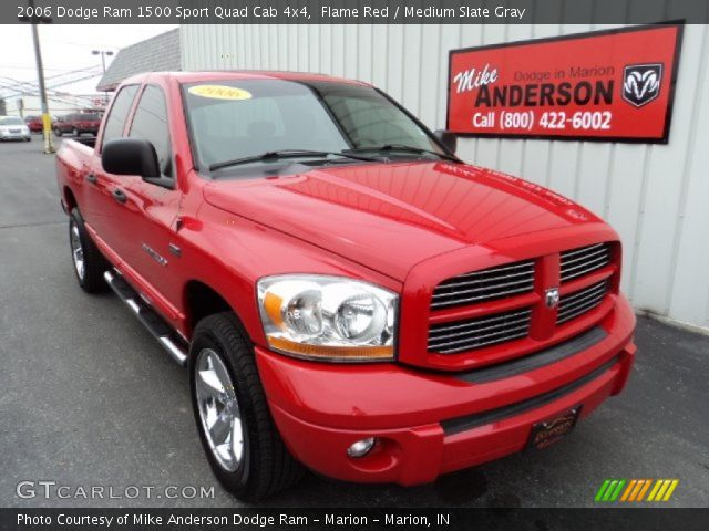 flame red 2006 dodge ram 1500 sport quad cab 4x4 medium slate gray interior. Black Bedroom Furniture Sets. Home Design Ideas