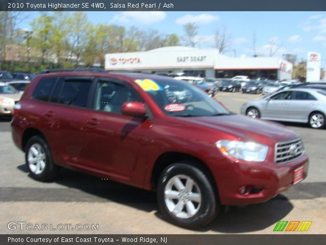 salsa red pearl 2010 toyota highlander se 4wd ash. Black Bedroom Furniture Sets. Home Design Ideas