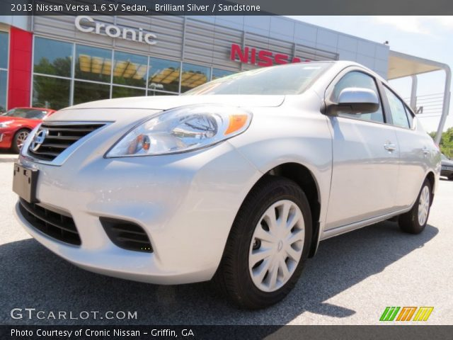 brilliant silver 2013 nissan versa 1 6 sv sedan sandstone interior vehicle. Black Bedroom Furniture Sets. Home Design Ideas