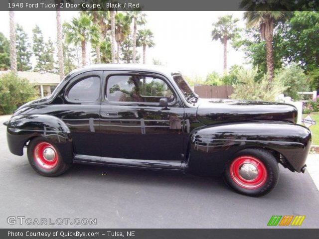 Black 1948 ford tudor 2 door coupe red interior for 1948 ford 2 door coupe
