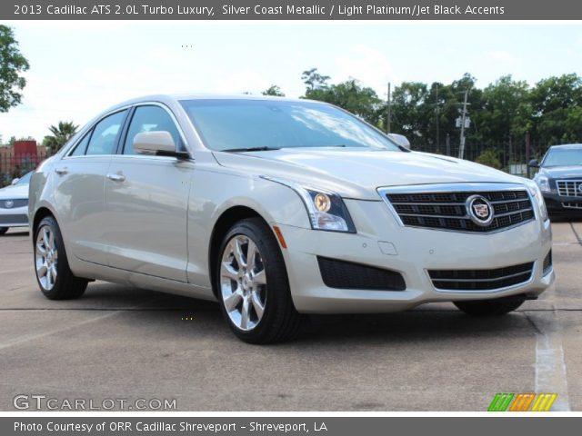 silver coast metallic 2013 cadillac ats 2 0l turbo luxury light platinum jet black accents. Black Bedroom Furniture Sets. Home Design Ideas