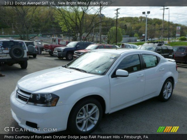 new bright white 2013 dodge avenger sxt v6 black red. Black Bedroom Furniture Sets. Home Design Ideas