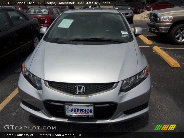 alabaster silver metallic 2012 honda civic ex l coupe stone interior. Black Bedroom Furniture Sets. Home Design Ideas