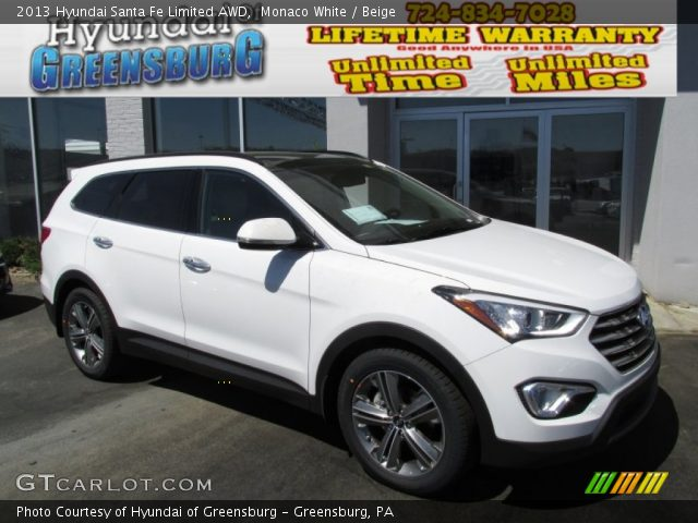 monaco white 2013 hyundai santa fe limited awd beige interior vehicle. Black Bedroom Furniture Sets. Home Design Ideas