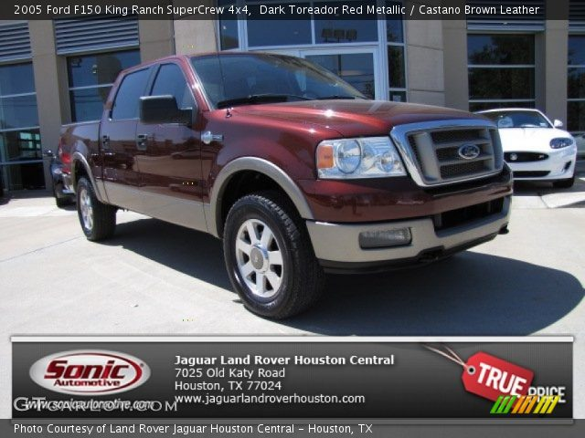 Dark Toreador Red Metallic 2005 Ford F150 King Ranch Supercrew 4x4 Castano Brown Leather