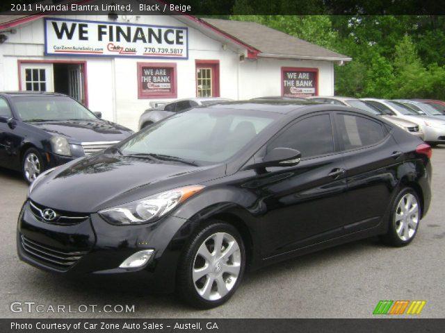 Black 2011 Hyundai Elantra Limited Beige Interior