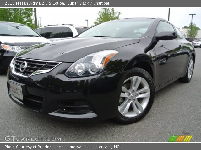 super black 2010 nissan altima 2 5 s coupe charcoal interior vehicle. Black Bedroom Furniture Sets. Home Design Ideas