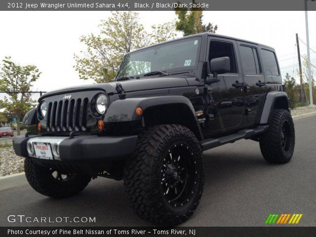 Black 2012 Jeep Wrangler Unlimited Sahara 4x4 Black Dark Saddle Interior