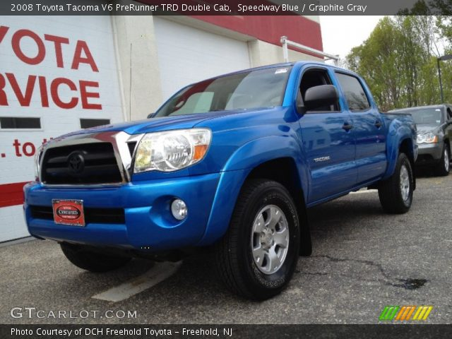 speedway blue 2008 toyota tacoma v6 prerunner trd double cab graphite gray interior. Black Bedroom Furniture Sets. Home Design Ideas